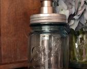 Vintage Blue Ball Mason Jar Soap Dispenser- Round Head Pump