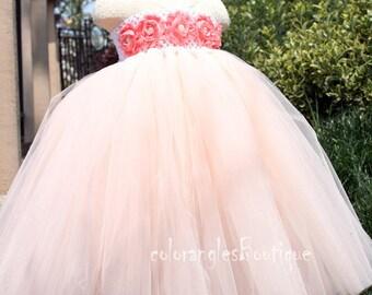 Flower Girl Dress Blush peach dress baby dress toddler birthday dress wedding dress Newborn 1T 2T 3T 4T 5T 6T