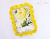 BIG SALE,Crochet brooch, Yellow brooch, Cottage brooch, Lemon, Citrus, Rustic Pin, Crocheted, French brooch, Lace brooch, Gift for Mum