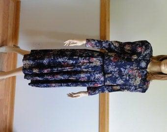 2-pc Dress, Size 4, Petite, Navy Blue Floral Print, Bolero Top, Pleated Skirt, Shirred Elastic Waist, Dress #205