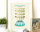 Cathrineholm Bowls Poster Mid Century style with Cathrineholm bowls stack Kitchen Poster illustration - mid century cathrineholm kitchen