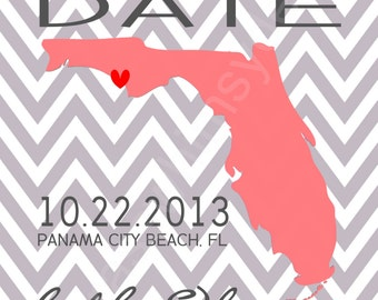 Wedding Save the Date Postcards- State, Chevron