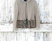 All Tied Up Hoodie Cardigan upcycled natural floral boho sweater hoodie eco friendly beige taupe brown cardigan - wearlovenow