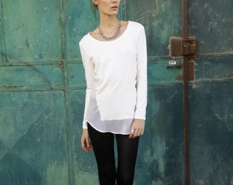 White semi sheer blouse, Open Back Blouse, geometric top, boat neck top, Long Sleeves Shirt, sexy back, loose fit top, long winter top,