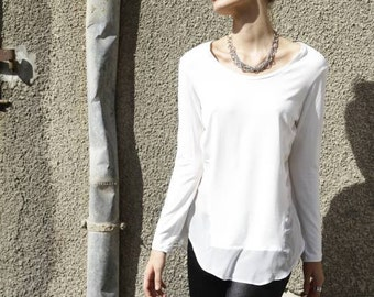 white blouse- Open Back Blouse-boat neck top- Long Sleeves Shirt- sexy back -sheer shirt- unique design