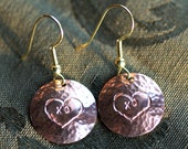 Rustic Stamped Hearts on Copper Disk Dangle Earrings