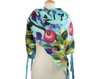 SALE!!! nuno felted artistic scarf, turquoise spring meadow III multicolor silk wool nunofelted scarf, felted shawl, felted eco wool scarf