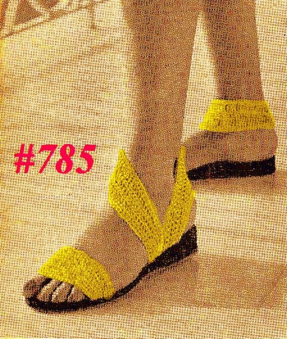 Vintage 1951 Vogue Chic Metallic Sandals 785  PDF Digital Crochet Pattern
