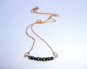 Pyrite Necklace, Gold Pyrite Necklace, Gold Bar Necklace, Gold Jewelry, Pyrite Jewelry, Pyrite Necklace