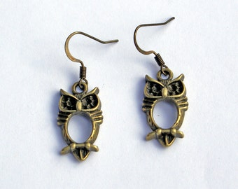 Owl Earrings, Little Owl Earrings, Antique Brass Earrings, Crafty Earrings, Owl Jewelry, Owls