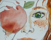 You are the apple of my eye - Valentine's Day - original watercolor painting
