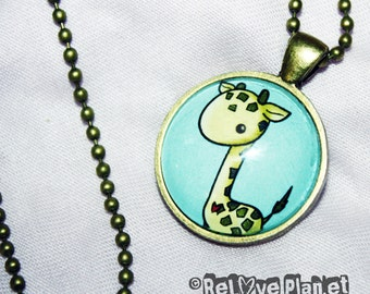 "Happy Giraffe 1"" Pendant Necklace - or 2 for 20 - kawaii positive - ReLove Plan.et"