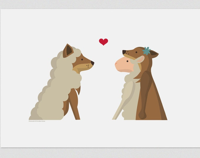 Illustration, Pint, Wolf and lamb, Tutticonfetti, Wall art, Art decor, Hanging wall, Printed art, Decor home, Gift idea, Sweet home.