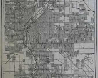 1922 Antique DENVER Colorado Map of Denver Black and White Travel Gallery Wall Map 6396