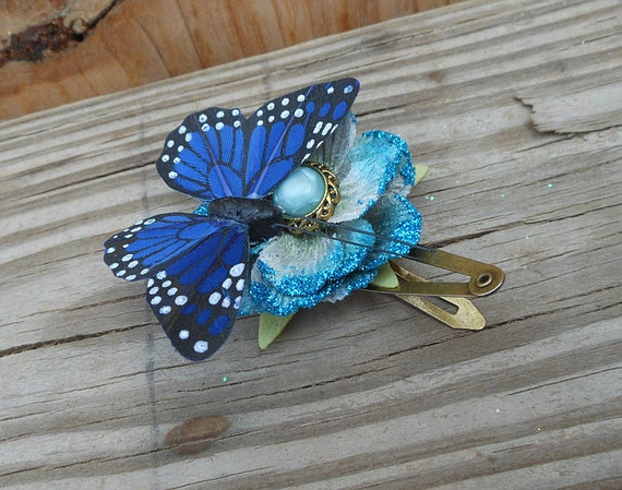 FLOWER SALE 40% OFF - Flower Hair Clip - Fabric Flower Hair Accessory - Butterfly Hair Accessory - Blue Flower and Blue Butterfly
