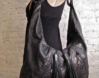 80s Huge Leather Hobo Bag - Black - Perfect Shoulder Bag