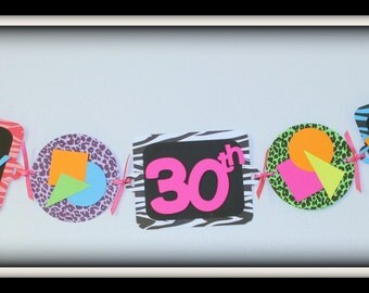 Happy Birthday 80's Banner - Neon Animal Print