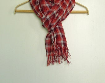 Checkered linen scarf with knot fringe, Linen scarf, Pure linen scarf, Summer linen scarf