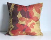 Fall Leaves Pillow Cover, 18x18 Red Decorative Pillow Cover- Purple Red Leaves 18x18 Pillow Case