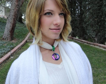 CRYSTALWEAR Hemp Scarf Necklace with Reiki Attuned multi-colored Hemalyke Stone and Green Jade pendant. Gifts under 40