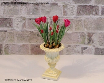 Dollhouse Garden Urn with Tulips and Grape Hyacinths - 1:12 Scale paper flowers (GF50)