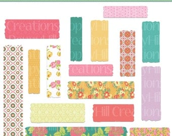 INSTANT DOWNLOAD - Summer Garden Washi Tape Clip Art - For Personal or Commercial Use - Digital Designs