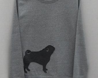 Leather Pug Jumper Grey Heather Lightweight Crew Neck Sweatshirt