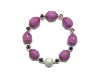 Paper Bead Bracelet - Beaded Bracelet - Bead Bracelet - Handmade Bracelet - Paper Bead Jewelry - Purple Bracelet