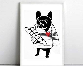 FRENCH BULLDOG - france - dog print - Frenchie - Bouledogue Francais - art print by nicemiceforyou