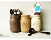 Home Decor Kitchen Canisters Storage Mason Jars Brown Cream Utensil holders