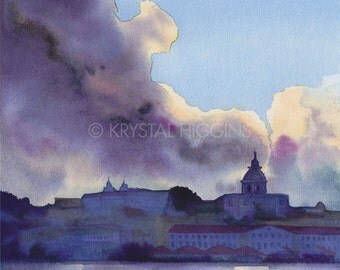 "8 x 10 Print of Portugal Lisbon Watercolor - ""Lisboa by the River"""
