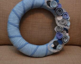 Yarn Wreath - BLUE WINTER - 12 inch Blue Yarn Covered Straw Wreath with Handcrafted Felt Flowers