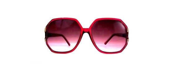 Vintage 70s Red Octagon Sunglasses Oversized Frames with Red Smoke Lenses