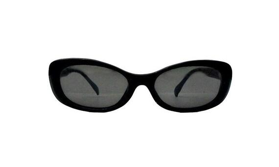 Vintage Secret Agent Man Sunglasses, Black Cat Eye Glasses, Deadstock Nerd Shades for Men and Women