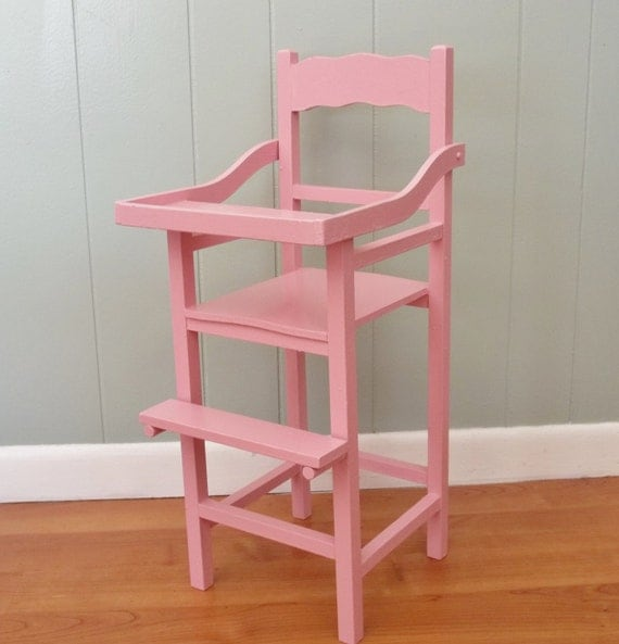 Wooden Wood Doll Highchair Is An Upcycled Vintage High Chair