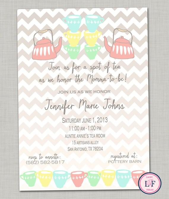 items similar to tea baby shower invitation printable tea bridal, diy tea party baby shower invitations, tea party baby boy shower invitations, tea party baby shower invitations