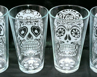 Sugar Skull custom etched 16 oz drinking glasses (Set of 4)