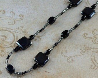 SALE Black Gray Long Beaded Necklace Agate Natural Stone Modern Czech Square Glass Beads Hematite Fashion Jewelry Jewellery Free Shipping