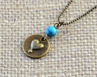 SALE Heart Pendant Turquoise Valentines Day Love Necklace Boho Reversible Blue Antique Bronze Rustic Bohemian Fashion Jewelry Jewellery