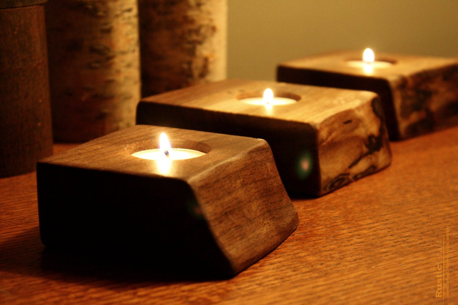 Single tealight holder wood gifts personalized candle Wood candle holders