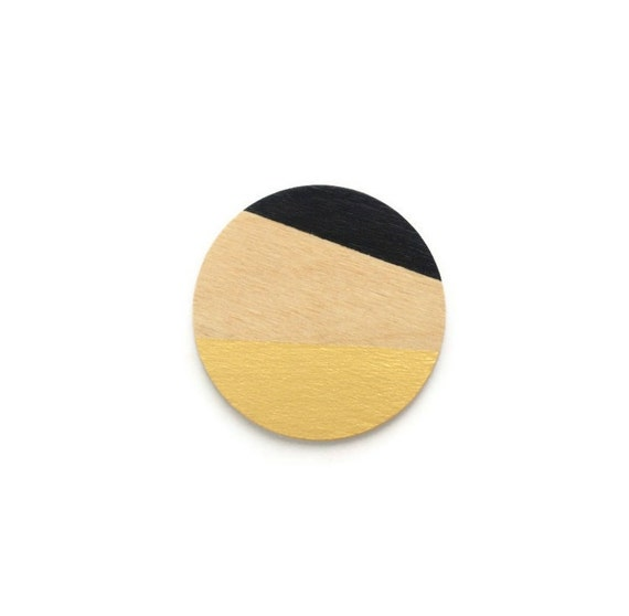 """Modern painted round wood brooch - """"Tuxedo"""" - black & pale gold"""