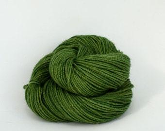 Vega - Hand Dyed Alpaca Merino Wool Silk Worsted Yarn - Colorway: Moss