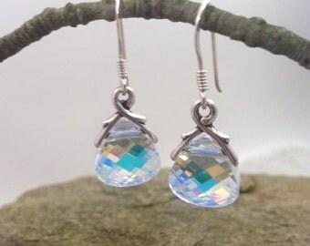 Aurora Borealis Swarovski Crystal Earrings w/ 925 Sterling Silver Ear Hooks