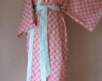 Kimono Style Cotton Robe - Tulip in Pomegranate