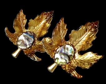 Maple Leaf Clip On Earrings    Alpaca Abalone Shell Gold Tone