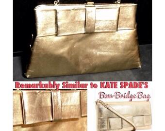Harry Levin HL USA Gold Bow Leatherette Convertible Clutch Handbag Purse w Fold Away Strap