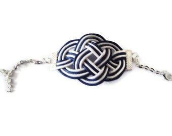 Nautical Bracelet, Knot Bracelet, Cord Rope Bracelet, Sailor Knot Bracelet, Celtic Knot Bracelet, Knotted Bracelet, White and Navy blue