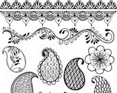 Henna Motif Clip Art Files in Black for Personal and Small Commercial Use