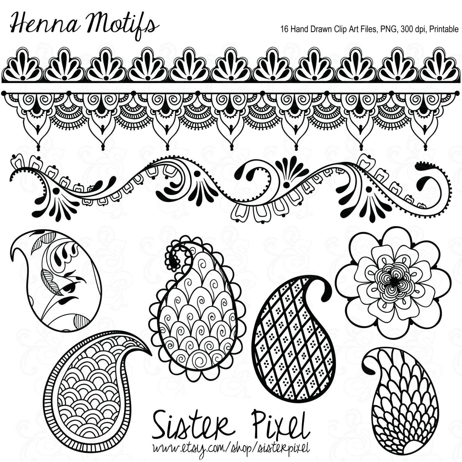 Henna Design Line Art : Henna clipart makedes