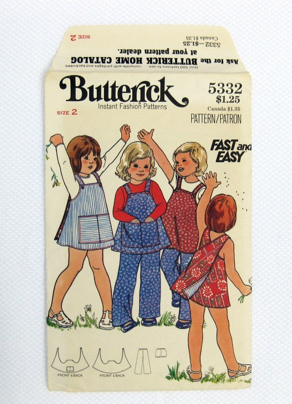Vintage Butterick 5332, 70s Toddlers' Reversible Jumper, Pants and Panties, Pinafore, Sewing Pattern, Size 2, Childrens Pattern